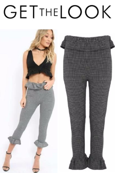 Gingham Frill Waist and Hem Cropped Pants - Vixen Boutique