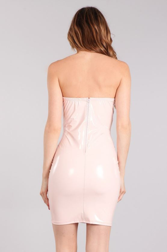 c8501531f8a0 Buy Wet Look Latex Strapless Bodycon Dress - Light Pink at Style ...