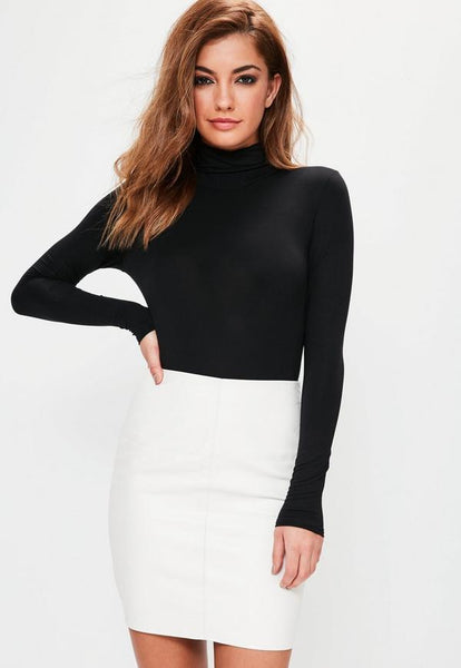 Basic Solid Long Sleeve Turtleneck - Black or White