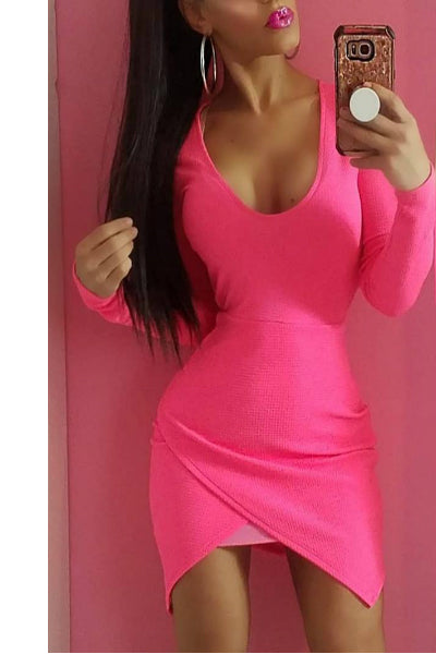 'Miami Mami' Asymmetrical Mini Dress - Neon Pink