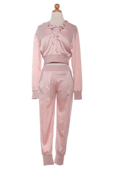 Lace Up Two Piece Satin Jogger Set - Rose Gold