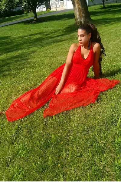 Red Plunge Neck Tulle Maxi Dress | Style Loft