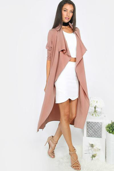 Naomi Draped Duster Coat - Mauve - Vixen Boutique