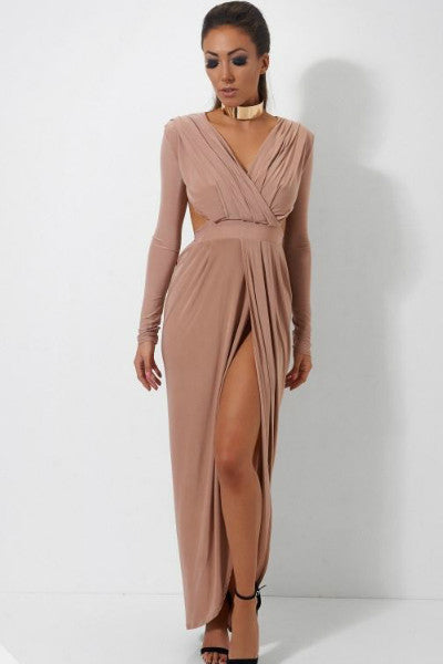 Mocha Slinky Grecian Draped Maxi Evening Dress | Style Loft