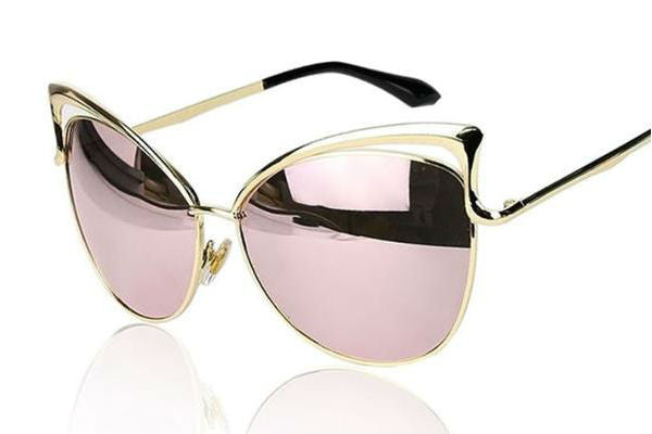 Designer Inspired Vintage Cat Eye Mirror Sunglasses - Rose Gold - Vixen Boutique