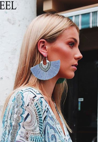 Tassle Statement Earrings - Baby Blue