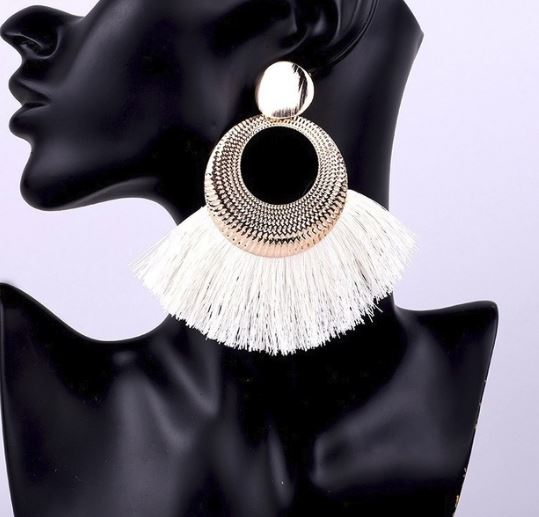 Tassle Statement Earrings - Ivory