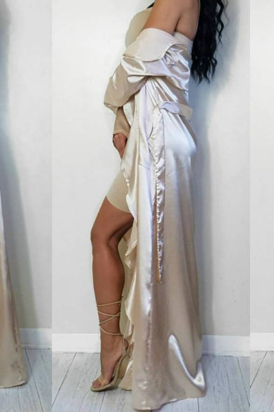 Champagne Gold Satin Waterfall Duster | Style Loft