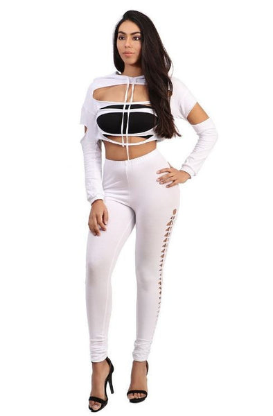 Cropped Slashed Front Hoodie - White