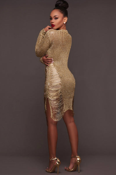 5470ee664b3 Buy Metallic Distressed Jumper Sweater Dress - Gold at Style Loft ...