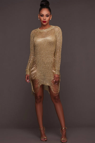 Metallic Distressed Jumper Sweater Dress - Gold