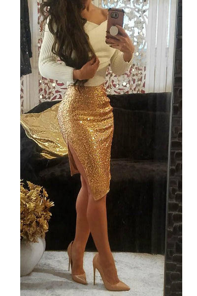 Irridescent Sequin Split Hem Midi Skirt - Gold