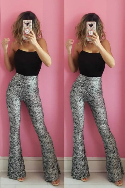 'Snake It Happen' Palazzo Pants - Gray