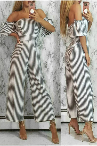 'Stacey' Stripe Off The Shoulder Culotte Jumpsuit - Gray & White - Vixen Boutique