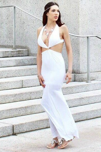 Sweet Revenge Halter Cut Out Maxi Dress - White