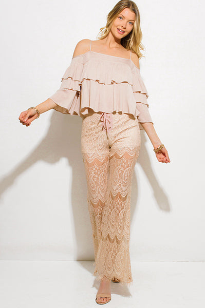 FESTIVAL READY | Nude Boho Lace Up Flared Leg Lace Pants | Style Loft