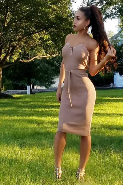 76fe7459798 Taupe Ribbed Tie Waist Strapless Midi Sweater Dress
