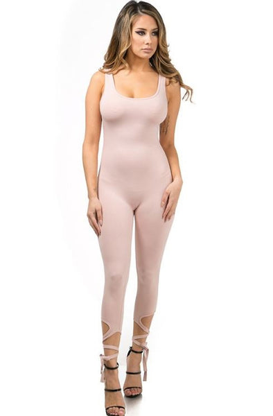 Ballerina Bottom Lace Up Leggings Catsuit - Blush Pink