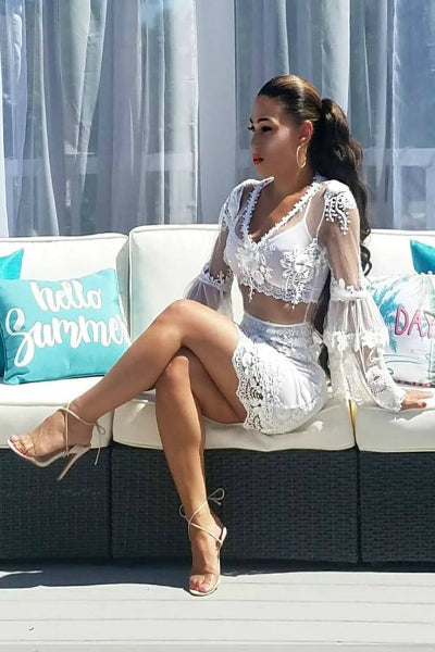 'Perfectly Poised' Lace Dress - White