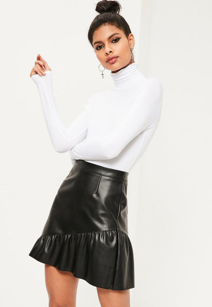 Basic Solid Long Sleeve Turtleneck - White