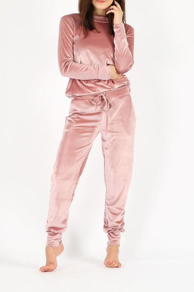 Sweetest Thing Velour Jogger - Rose Gold - Vixen Boutique