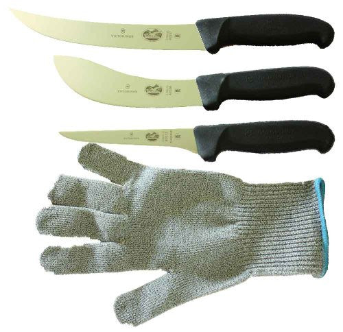 Victorinox 5 Inch Boning Knife, 8 Inch Breaking, Knife 6 Inch Skinning Knife & Polar Bear Cut Resistant Glove