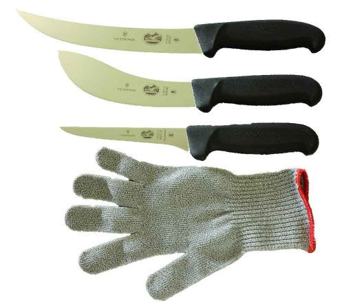 Victorinox 5 Inch Boning Knife, 8 Inch Breaking, Knife 6 Inch Skinning Knife & SMALL Polar Bear Cut Resistant Glove