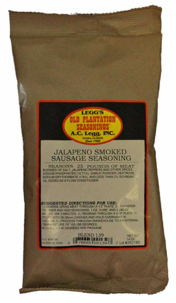 A.C. Legg Jalapeno Smoked Sausage Seasoning. Blend #139