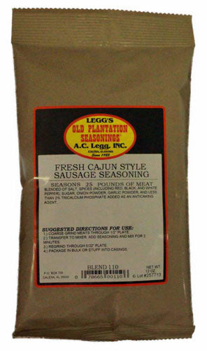 A.C. Legg Fresh Cajun Style Sausage Seasoning. Blend #110