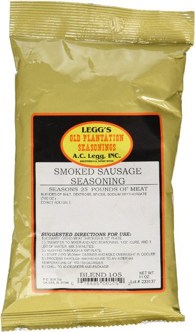 A.C. Legg Smoked Sausage Seasoning. Blend #105