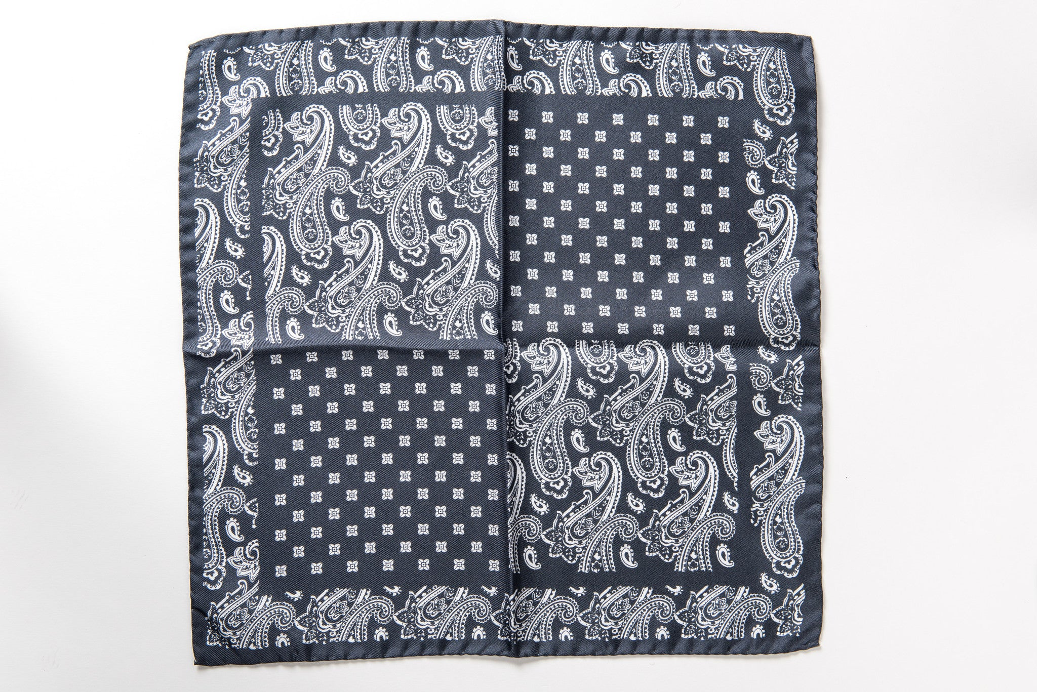 Black silk pocket square