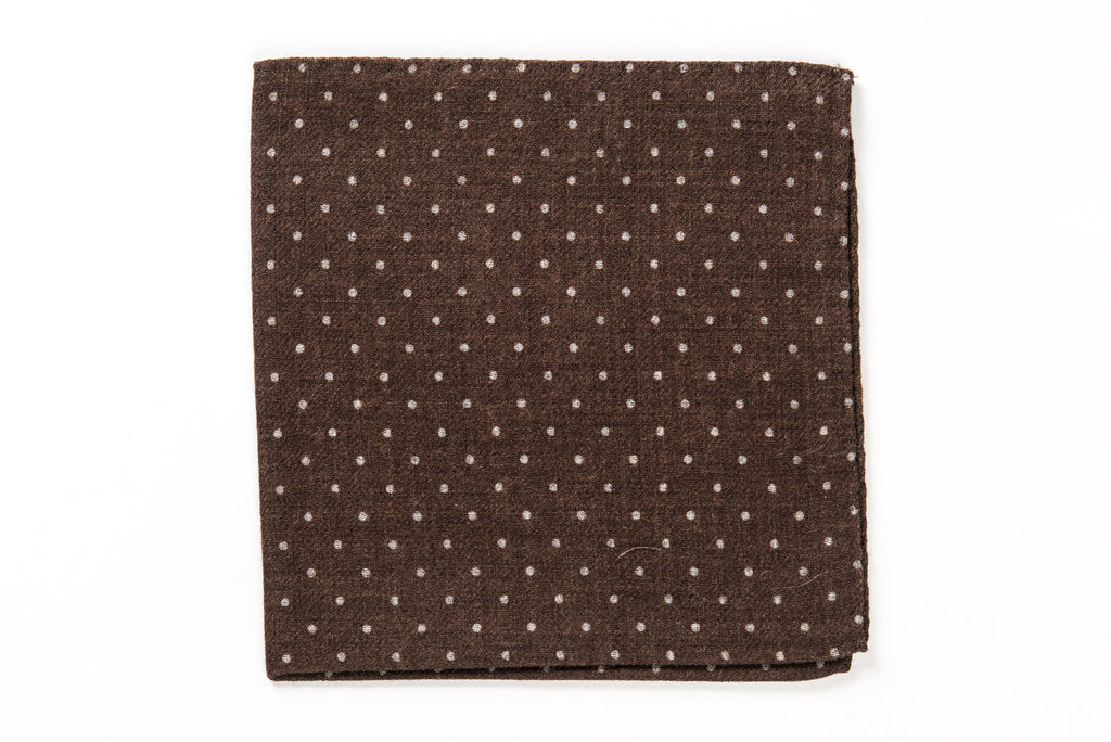 Brown wool pocket square
