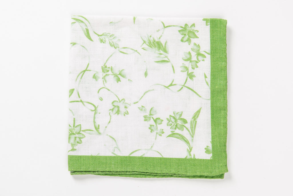 Green linen pocket square