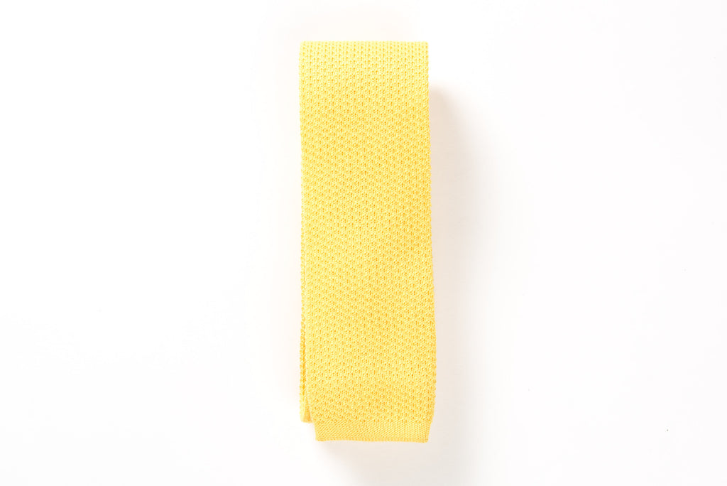 Yellow coton knitted tie