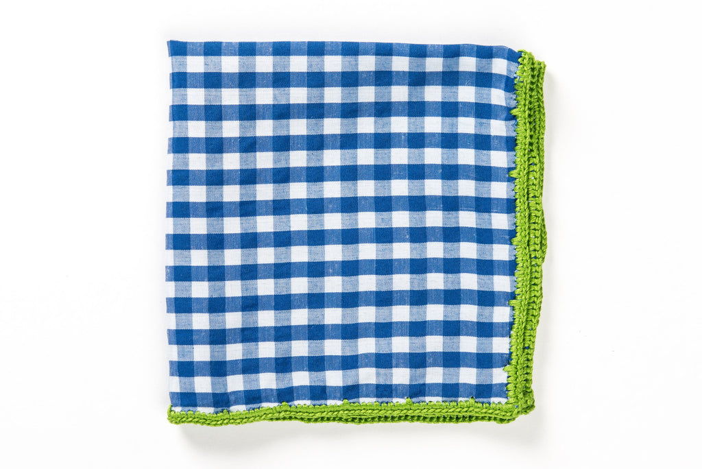 Blue coton pocket square