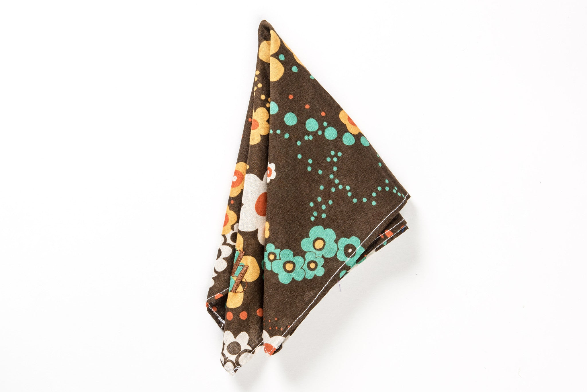 Brown coton pocket square