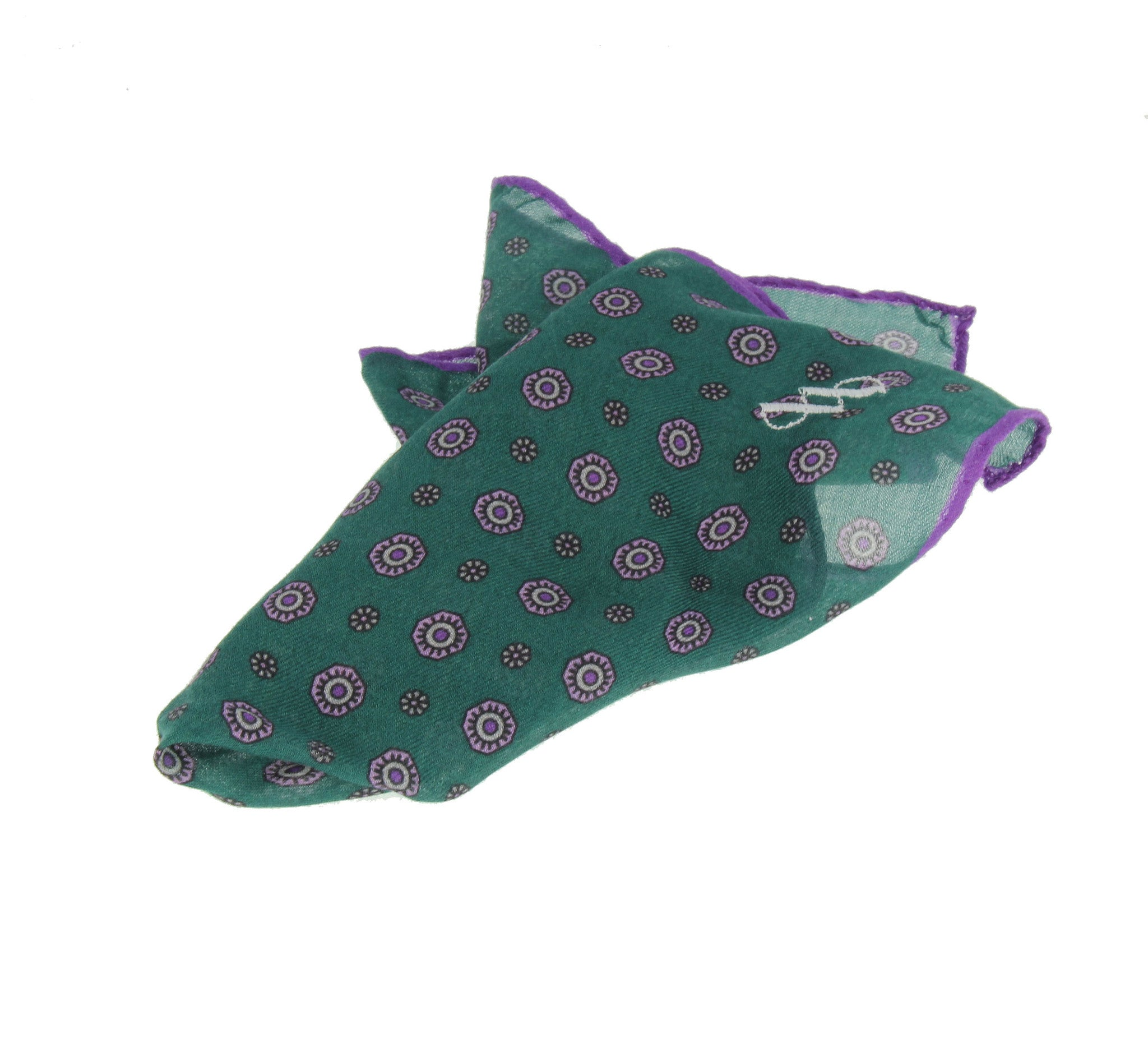 Green modal and cachmere pocket square with flowers pattern