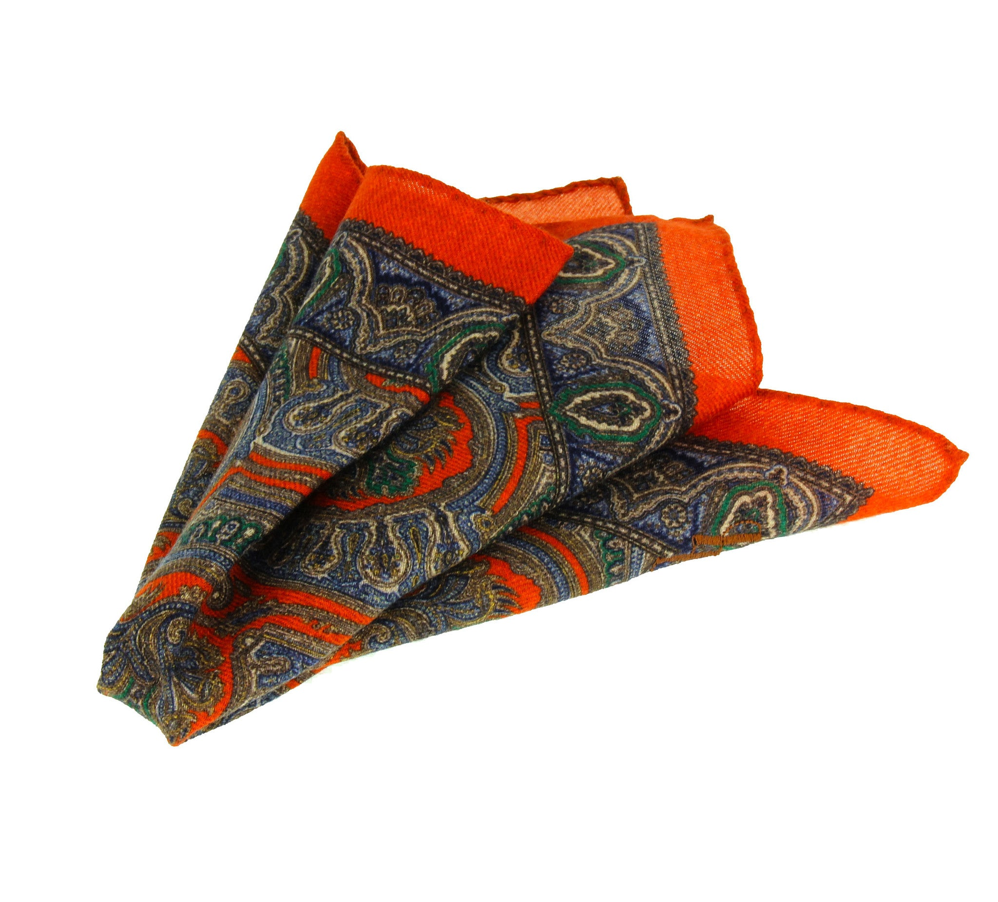 Red pocket square with multiple patterns