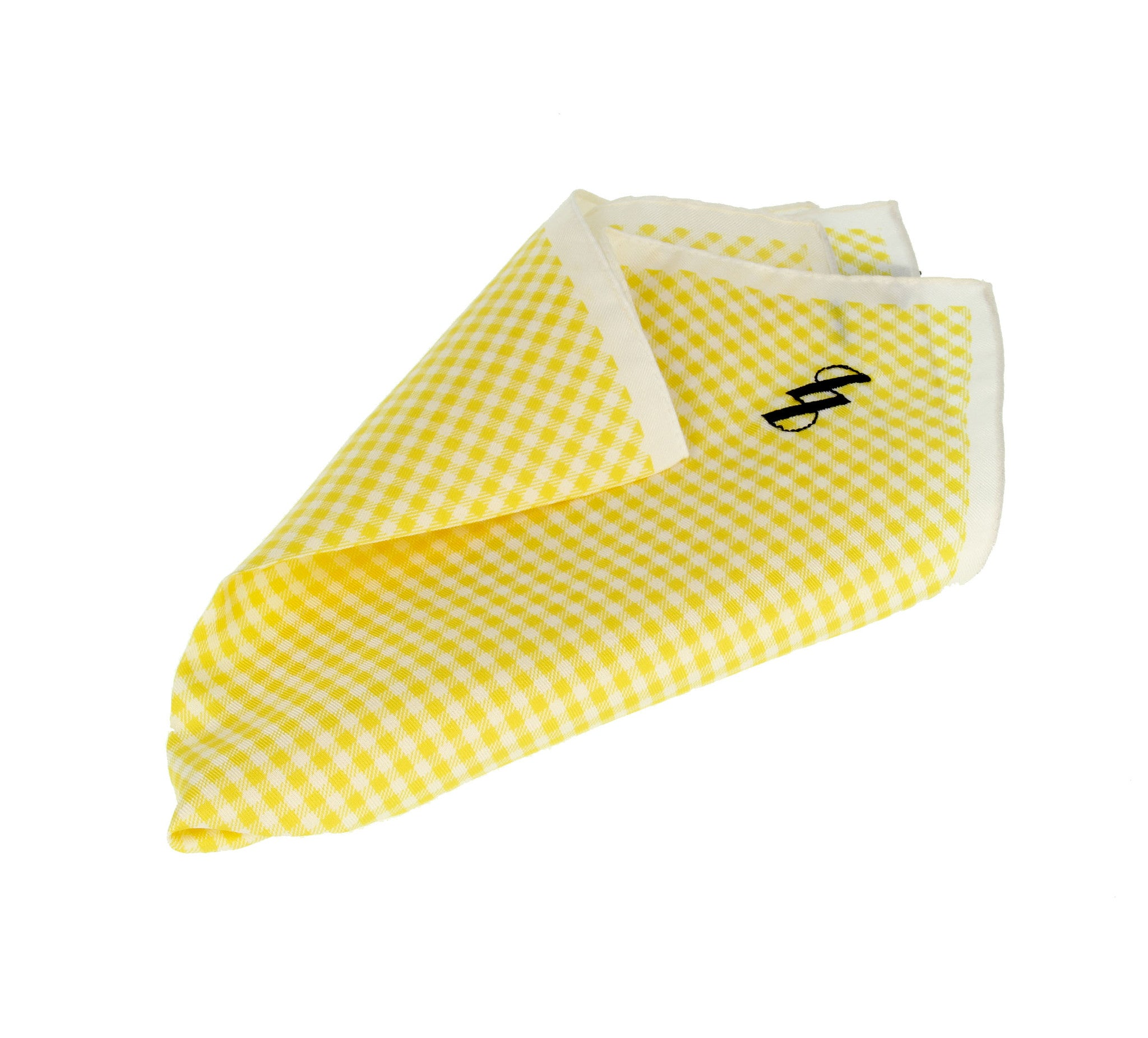 Yellow pocket square with Vichy patterns
