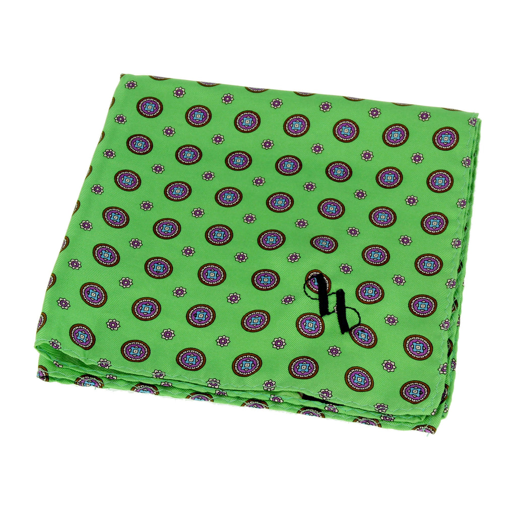 Green silk pocket square with floral pattern