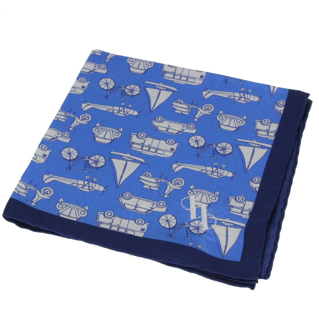 Blue pocket square with boat and car pattern