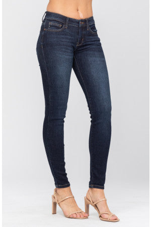 Alex Mid Rise Non-Distressed Skinny Jeans - Dark Wash - Judy Blue