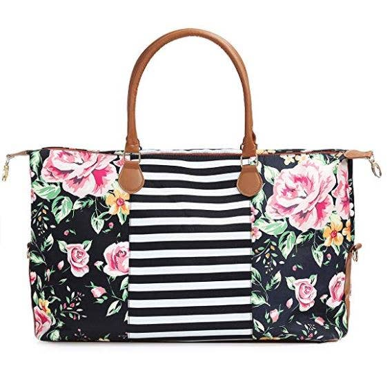Floral Striped Weekender Bag