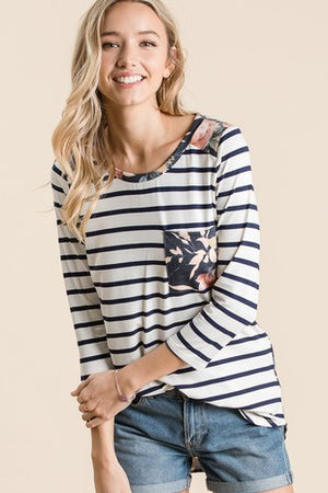 Lily Striped 3/4 Top Floral Back