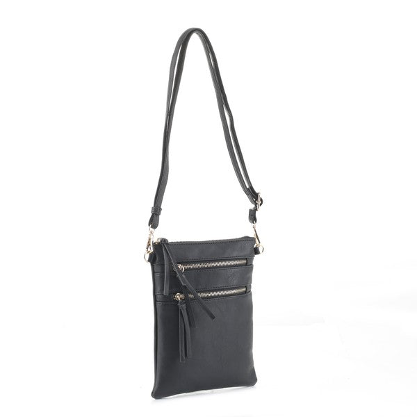 Bellamine Crossbody Double Zipper Vegan Leather Bag  - Black