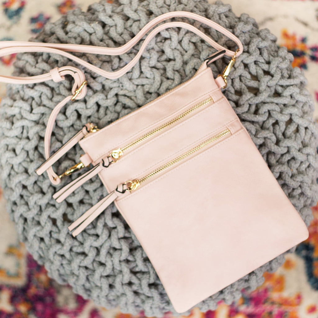 Bellamine Crossbody Double Zipper Vegan Leather Bag  - Blush