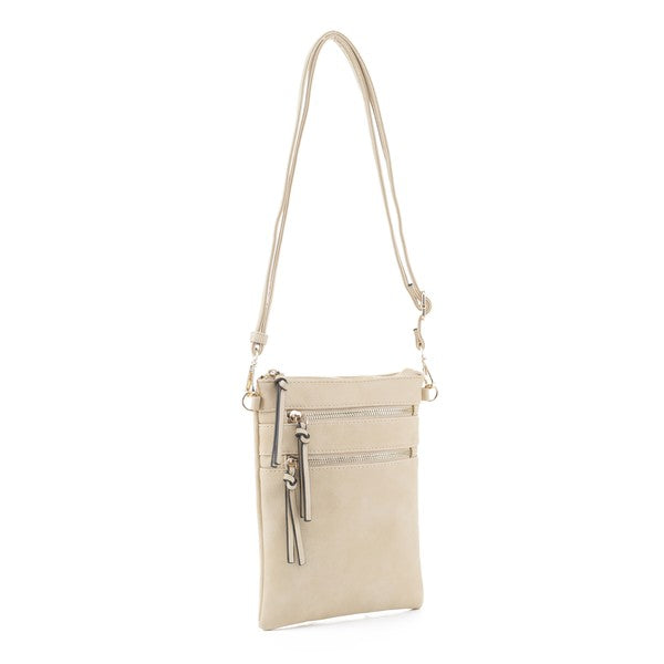 Bellamine Crossbody Double Zipper Vegan Leather Bag  - Sand