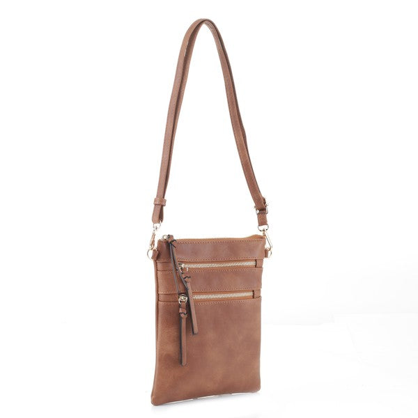 Bellamine Crossbody Double Zipper Vegan Leather Bag  - Camel