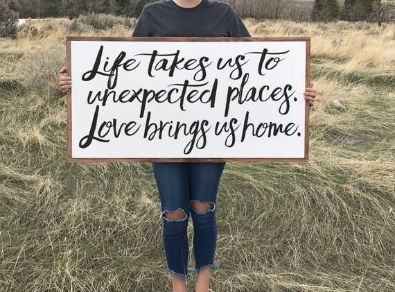 "16"" X 32"" Love Brings Us Home Wood Sign"