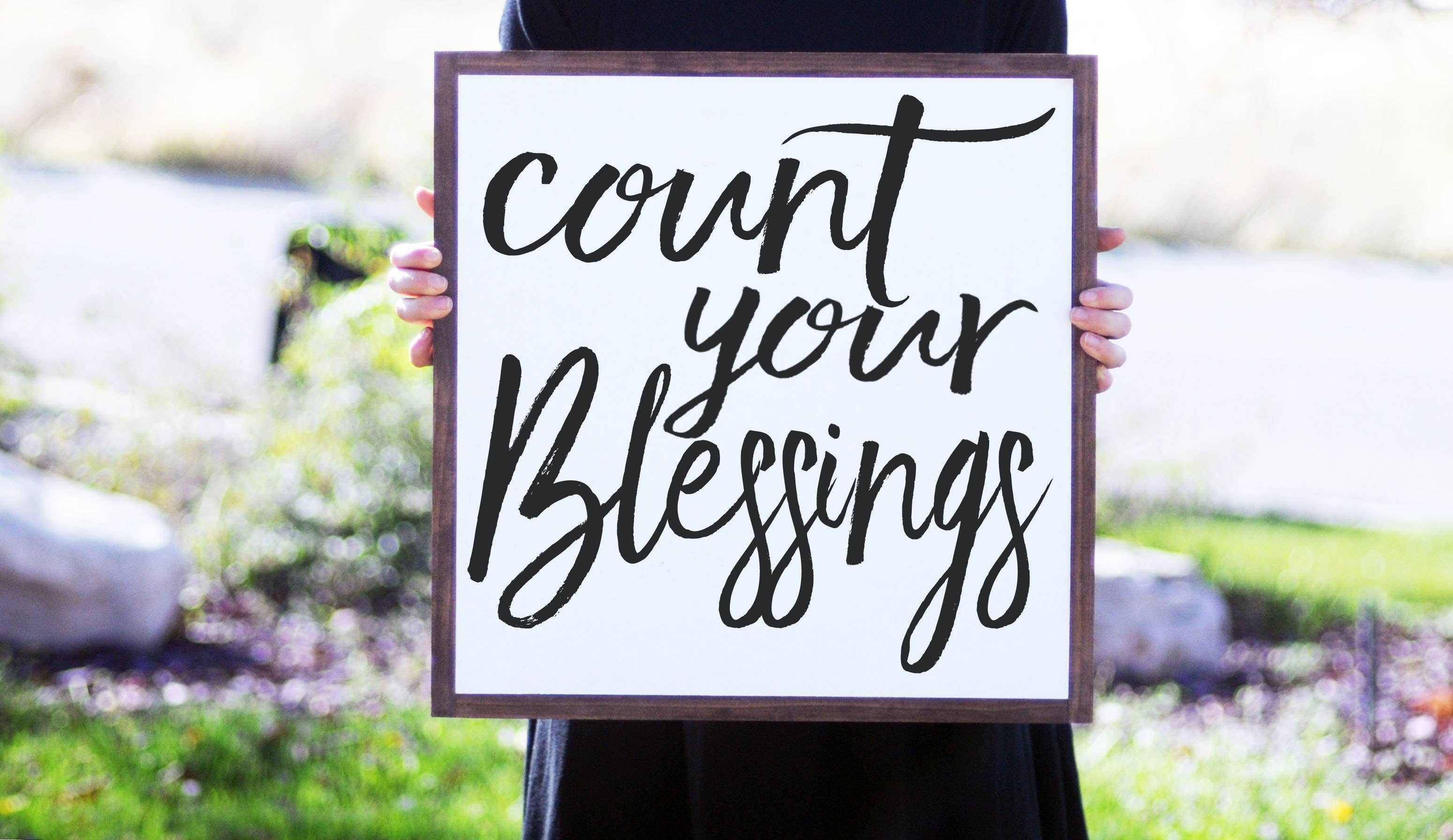 "14""x14"" Count Your Blessings Wood Sign"